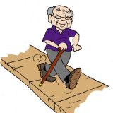 Illustration by Marc Hughes for PlannersWeb - senior citizen walking on sidewalk