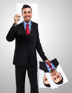 Businessman changing his face as a disguise