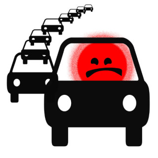 cartoon of angry drive in congestion