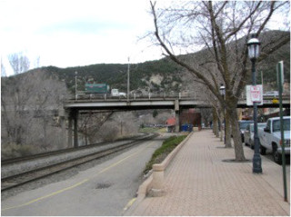 View of bridge's clearance over the railroad and street.