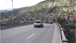 The current bridge has relatively narrow lanes. Photo courtesy of CDOT.