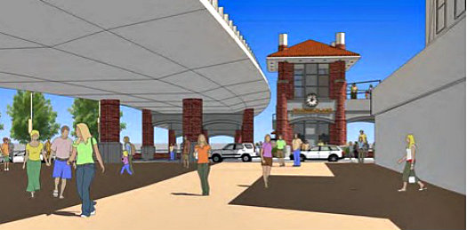 Rendering ov view looking toward the elevators and the pedestrian bridge – Illustration courtesy of CDOT