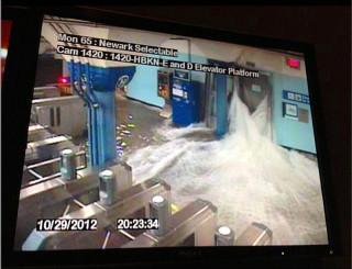 Flooding in Hoboken Path station.