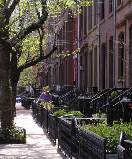 "A brownstone lined street in Hoboken. Photo by James ""JR"" Ronczy."