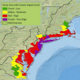 Map by U.S. Army Corps of Engineers assessment of relative magnitude of damage from Hurricane Sandy.