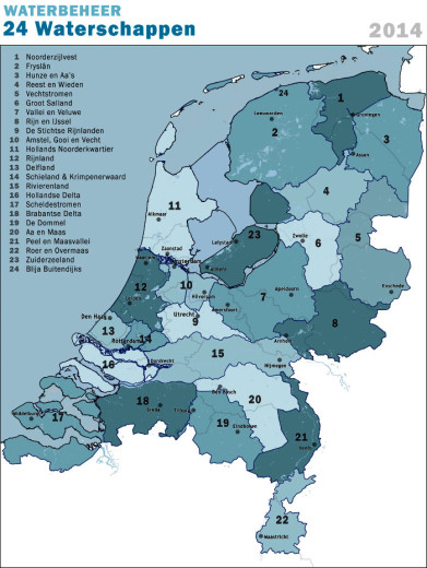 Map of water board districts in The Netherlands.