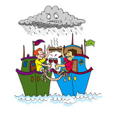 Sharing burgers between two boats. Illustration by Marc Hughes for PlannersWeb