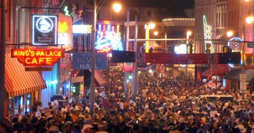 Beale Street in Memphis. Photo courtesy Downtown Memphis Commission.