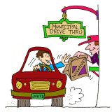 Municipal drive thru for incentives. Illustration by Marc Hughes for PlannersWeb