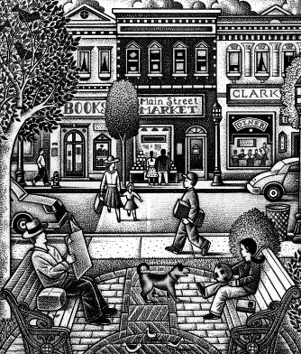 Main street scene. Illustration by Paul Hoffman for PlannersWeb.