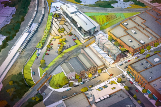 Aerial rendering of planned Raleigh Union Station complex. From NC DOT.