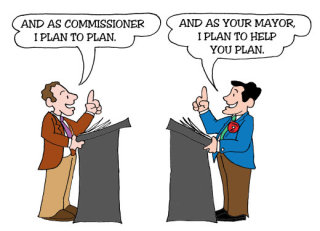 Illustration by Marc Hughes for PlannersWeb - planning commissioner working with mayor.