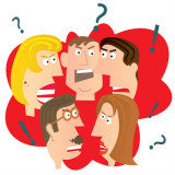Illustration of a group of angry people.